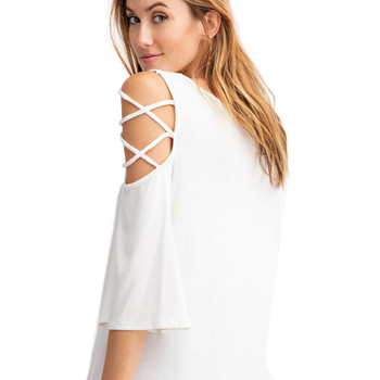 Off white women's casual shirt with laced shoulders backside view.