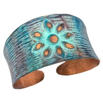 Rustic Flower Copper Patina Bracelet