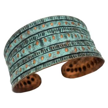 Rivet Stripes Copper Patina Bracelet