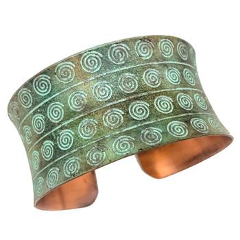 Striped Spirals Copper Patina Bracelet