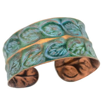 Copper Patina Rows of Leaves Bracelet