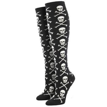 Skull and Crossbones Women's Knee High Socks
