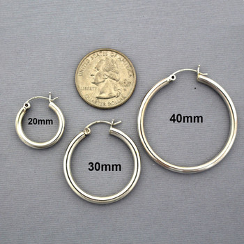 Sizes available sterling silver 3mm hoop earrings with snap post closure.