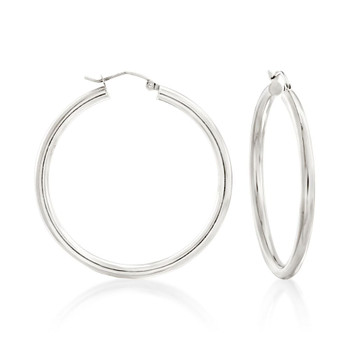 Sterling silver 3mm hoop earrings with snap post closure.