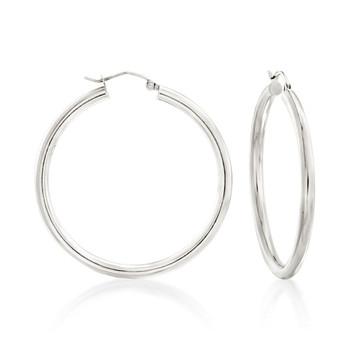 Sterling silver 3mm hoop earrings with snap post closure.