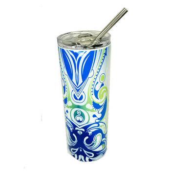 Blue and green tribal design 20 oz. tumbler.