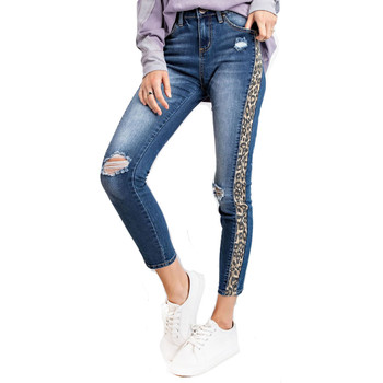 Leopard side fabric down side of jeans.