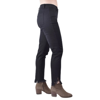 Ethyl Jeans Black Denim Frayed Edges side view