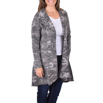 Gray Camo Long Sleeve Denim Jacket