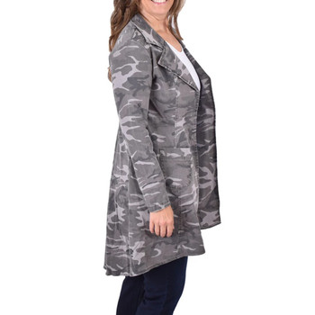 Gray Camo Long Sleeve Denim Jacket side view