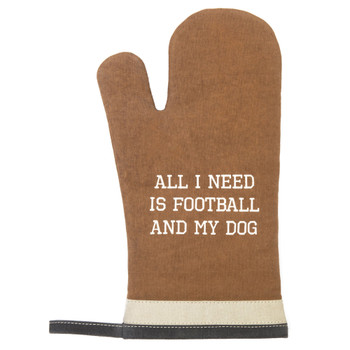 My Dog and Football Upcycled Canvas Oven Mitt