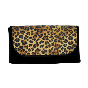 Leopard print with glitter roll up travel bag.