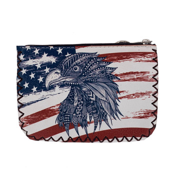 USA Flag Eagle Zippered Coin Purse back view