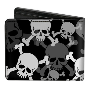 Top Skulls Men's Bi-Fold Wallet back view