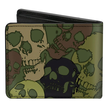 Camo Skull Men's Bi-Fold Wallet back view