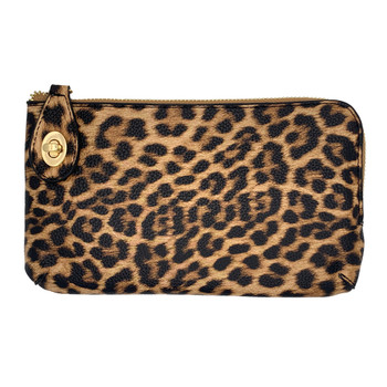 Leopard Wristlet Wallet Crossbody Purse front view