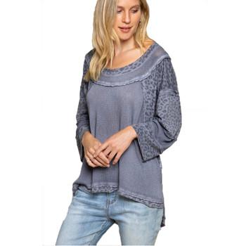 Charcoal Leopard Print Lightweight Sweater Top