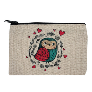 Love Bird Owl Small Linen Makeup Bag