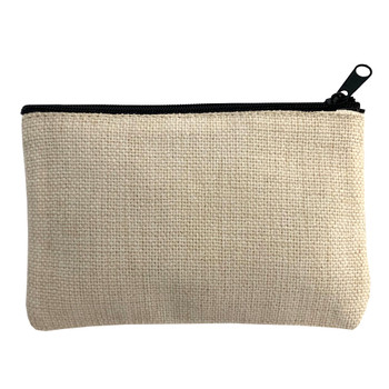 Small Linen Zippered Pouch back view
