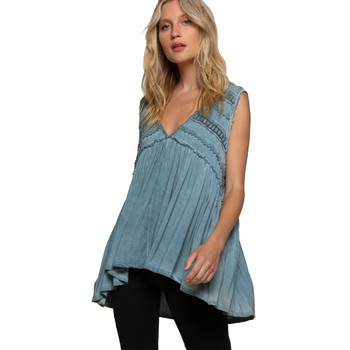 Blue Sage Flowy Boho Tank Top front view