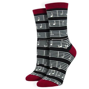 Sheet Music Notes Women's Bamboo Crew Socks