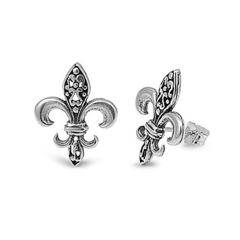 Fleur de Lis sterling silver stud earrings.