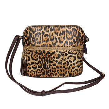 Brown leopard animal print crossbody purse.