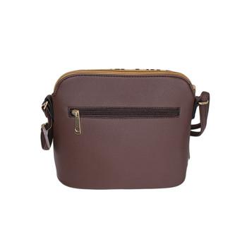 Backside of brown leopard animal print crossbody purse.