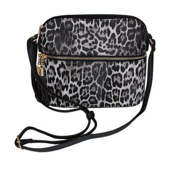 Gray leopard animal print crossbody purse.