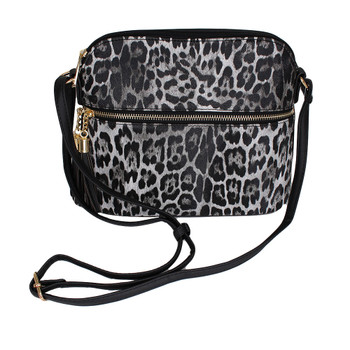 Gray leopard animal print crossbody purse.