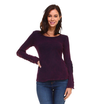 Eggplant Purple Long Sleeve Shirt front view