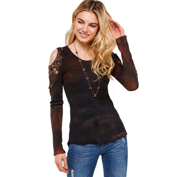 Rust and Brown Crystal Tie Dye Long Sleeve Shirt front view