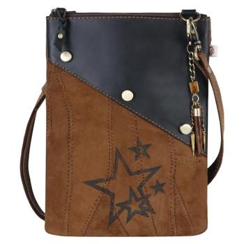 Star Print Leather Crossbody Pouch Purse