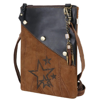 Star Print Leather Crossbody Pouch Purse front view