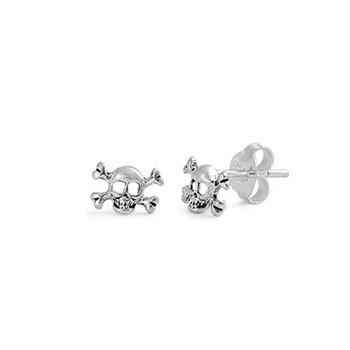 Small skull and crossbone stud earrings.