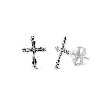 Small cross stud silver earrings.
