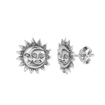 Sun and Moon sterling silver stud earrings.