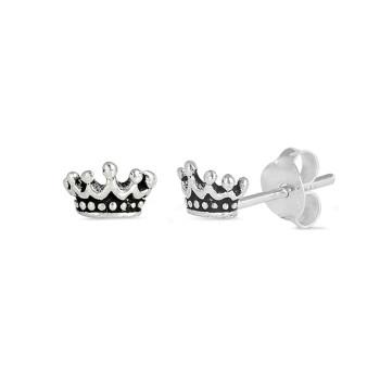 Little crown sterling silver earrings.