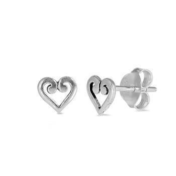 Little heart sterling silver stud earrings.
