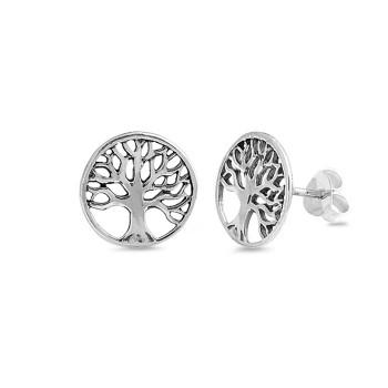 Tree of Life sterling silver stud earrings.