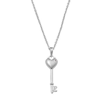 Key with heart and CZ sterling silver necklace.
