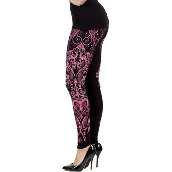 Side view of Vocal pink swirl floral print with rhinestones.