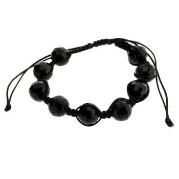 Shamballa Style Bracelet Black Disco Ball Beads Sparkle Mirrored