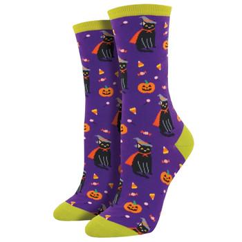 Halloween Witch Cat Women's Crew Socks