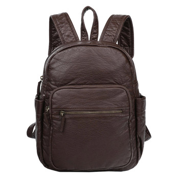 Chocolate Brown Vegan Leather Backpack Purse