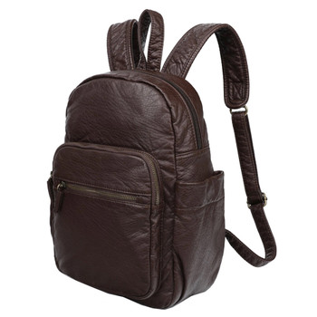 Chocolate Brown Vegan Leather Backpack Purse front view