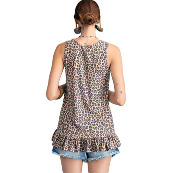 Backside of leopard print tunic tank top with ruffle.