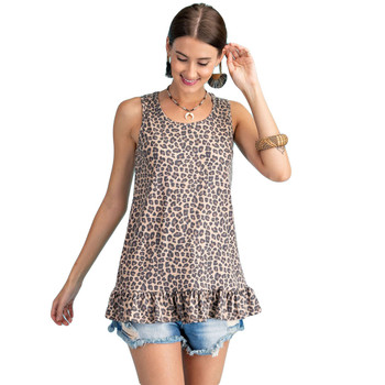 Leopard print tunic tank top with ruffle.