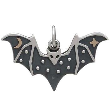 Small sterling silver bat charm pendant.