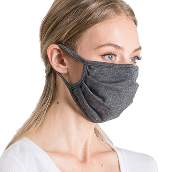 Charcoal Grey Cotton Face Mask side view
